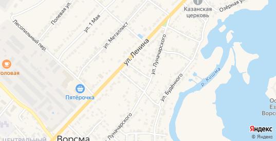 Переулок Луначарского в Ворсме с номерами домов на карте. Спутник и схема онлайн