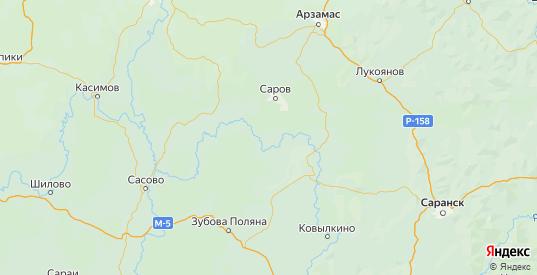 Карта Темниковского района республики Мордовия с городами и населенными пунктами