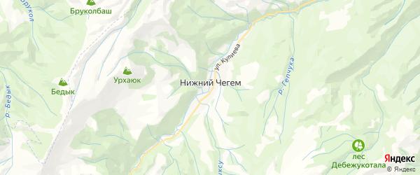 Карта Чегема с районами, улицами и номерами домов