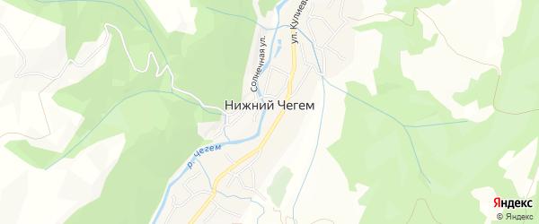 Карта села Нижнего Чегема в Кабардино-Балкарии с улицами и номерами домов