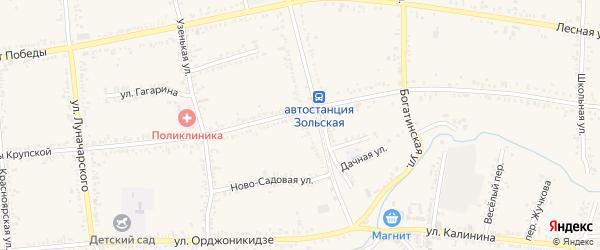 Зеленая улица на карте Зольской станицы Ставропольского края с номерами домов