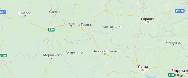 Карта Спасского района Пензенской области с городами и населенными пунктами