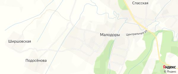 Карта села Малодоры в Архангельской области с улицами и номерами домов