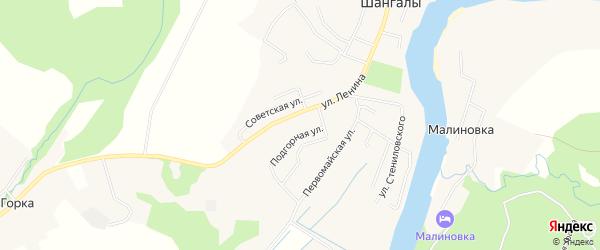 Карта села Шангалы в Архангельской области с улицами и номерами домов