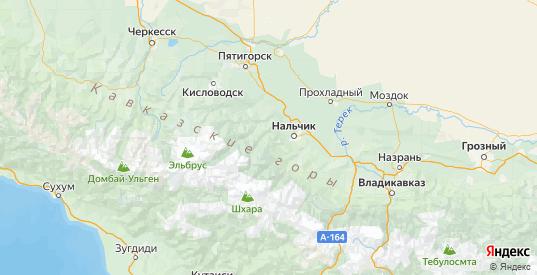 Карта Чегемского района республики Кабардино-Балкария с городами и населенными пунктами