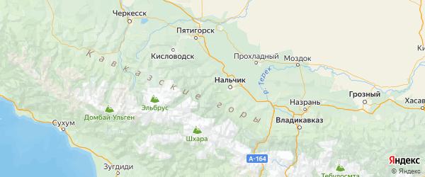 Карта Чегемского района Республики Кабардино-Балкарии с городами и населенными пунктами