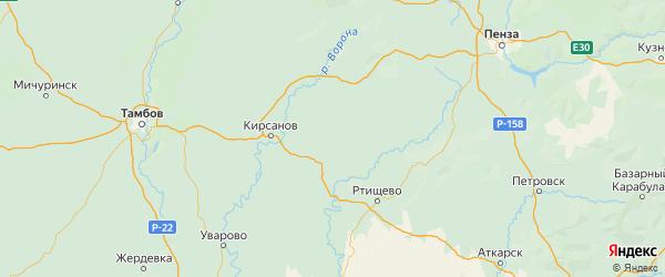 Карта Тамалинского района Пензенской области с городами и населенными пунктами
