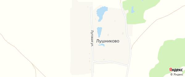 Луговая улица на карте деревни Лушниково Нижегородской области с номерами домов