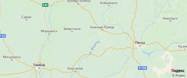 Карта Пачелмского района Пензенской области с городами и населенными пунктами