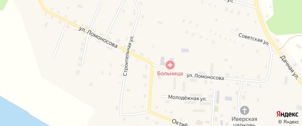 Улица Ломоносова на карте поселка Рочегды Архангельской области с номерами домов