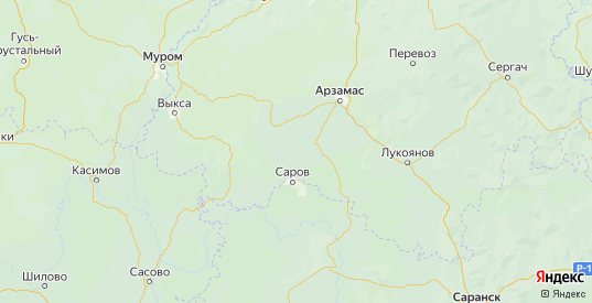 Карта Дивеевского района Нижегородской области с городами и населенными пунктами