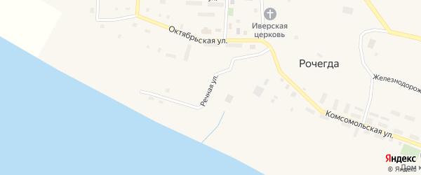 Речная улица на карте поселка Рочегды Архангельской области с номерами домов