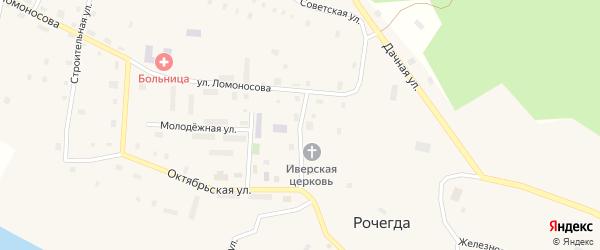 Молодежная улица на карте поселка Рочегды Архангельской области с номерами домов