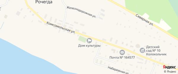 Комсомольская улица на карте поселка Рочегды Архангельской области с номерами домов