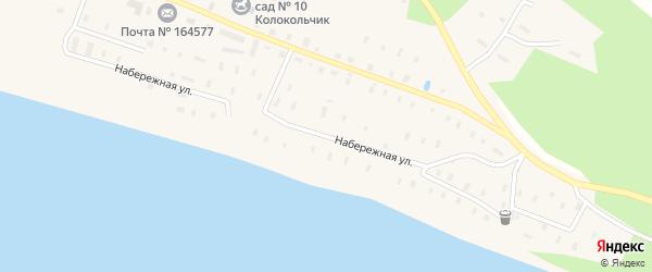 Улица Набережная Двины на карте поселка Рочегды Архангельской области с номерами домов