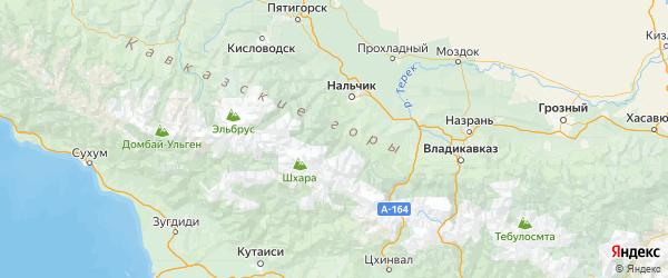 Карта Черекского района Республики Кабардино-Балкарии с городами и населенными пунктами