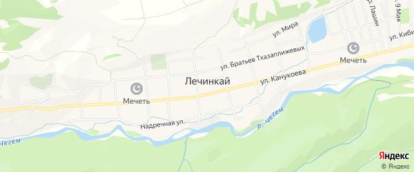 Карта села Лечинкая в Кабардино-Балкарии с улицами и номерами домов