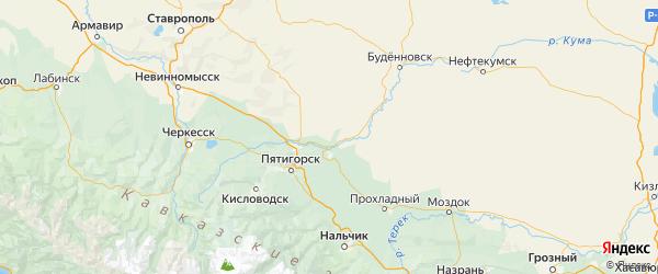Карта Георгиевского района Ставропольского края с городами и населенными пунктами