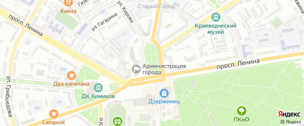 Санитарный переулок на карте Дзержинска с номерами домов