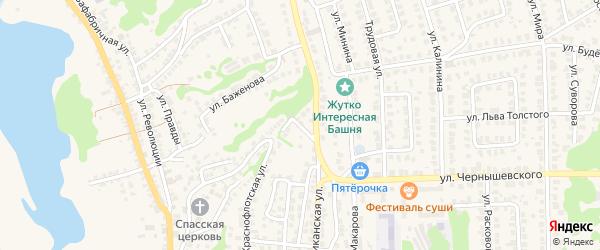 Молочный переулок на карте Городца с номерами домов