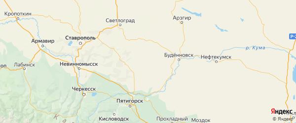 Карта Новоселицкого района Ставропольского края с городами и населенными пунктами