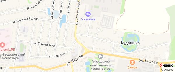 Космическая улица на карте Городца с номерами домов