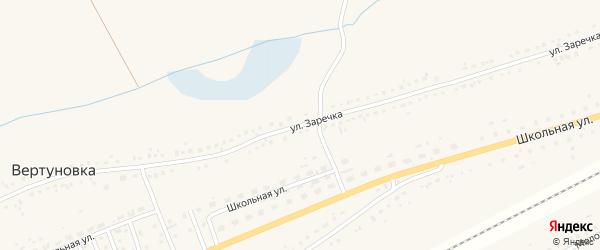 Улица Заречка на карте села Вертуновки Пензенской области с номерами домов