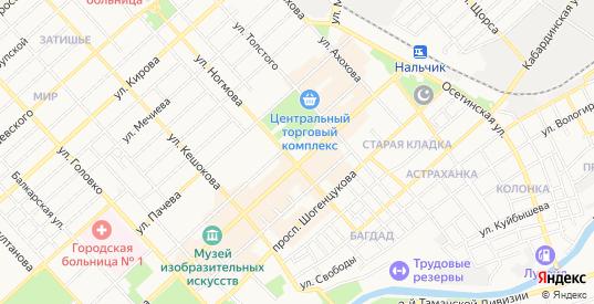 Карта села Цементный Завод в Нальчике с улицами, домами и почтовыми отделениями со спутника онлайн