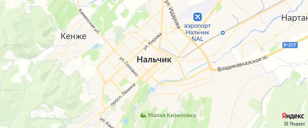 Карта Нальчика с районами, улицами и номерами домов