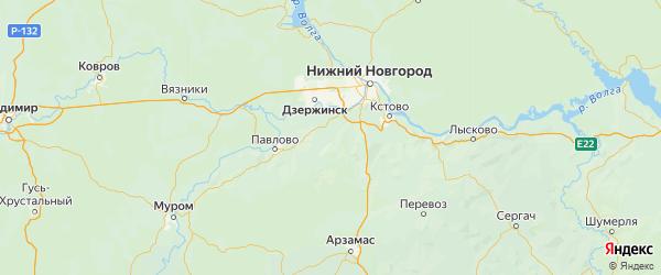 Карта Богородского района Нижегородской области с городами и населенными пунктами