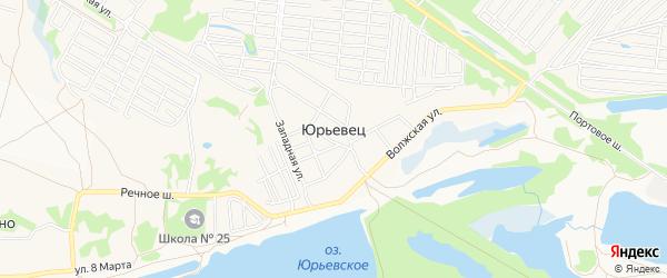 Карта поселка Юрьевца города Дзержинска в Нижегородской области с улицами и номерами домов