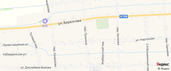 Переулок Пушкина на карте села Баксаненка Кабардино-Балкарии с номерами домов