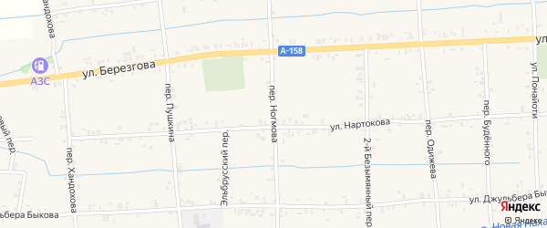 Переулок Ногмова на карте села Баксаненка Кабардино-Балкарии с номерами домов
