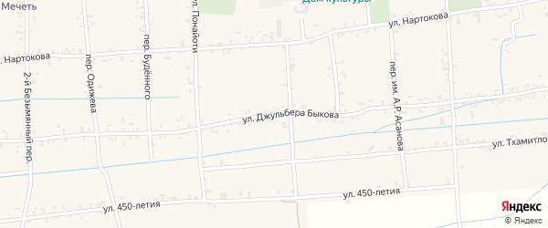 Улица Д.Х.Быкова на карте села Баксаненка Кабардино-Балкарии с номерами домов