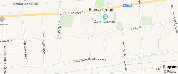 Учительский переулок на карте села Баксаненка Кабардино-Балкарии с номерами домов