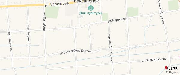 Школьный переулок на карте села Баксаненка Кабардино-Балкарии с номерами домов