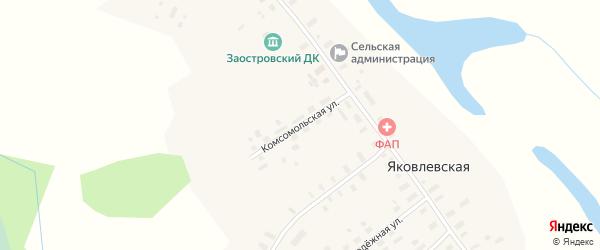 Комсомольская улица на карте Яковлевской деревни Архангельской области с номерами домов