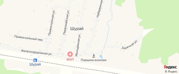 Железнодорожная улица на карте поселка Шурая с номерами домов