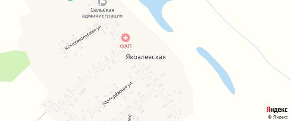 Молодежная улица на карте Яковлевской деревни Архангельской области с номерами домов