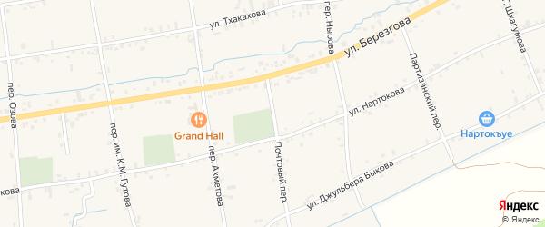 Почтовый переулок на карте села Баксаненка Кабардино-Балкарии с номерами домов