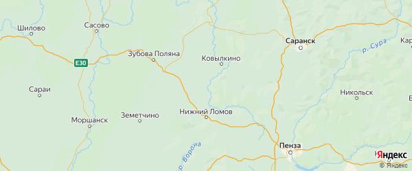 Карта Наровчатского района Пензенской области с городами и населенными пунктами