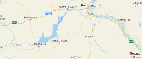 Карта Октябрьского района Волгоградской области с городами и населенными пунктами