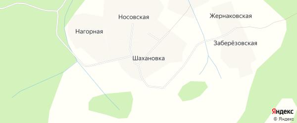 Карта деревни Шахановки в Архангельской области с улицами и номерами домов