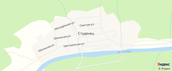 Карта поселка Студенца в Архангельской области с улицами и номерами домов