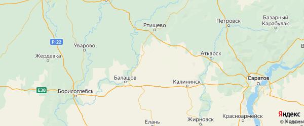 Карта Аркадакского района Саратовской области с городами и населенными пунктами