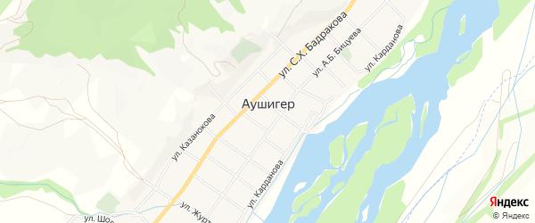 Карта села Аушигера в Кабардино-Балкарии с улицами и номерами домов