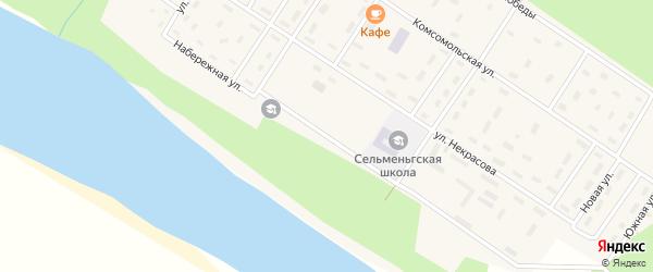 Набережная улица на карте поселка Сельменьги Архангельской области с номерами домов