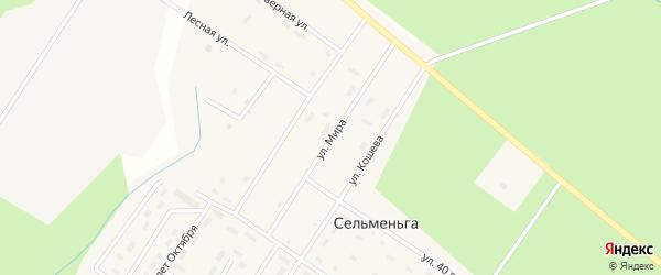 Улица Мира на карте поселка Сельменьги Архангельской области с номерами домов
