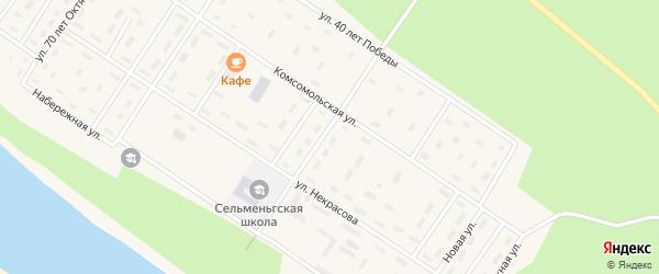 Двинская улица на карте поселка Сельменьги Архангельской области с номерами домов