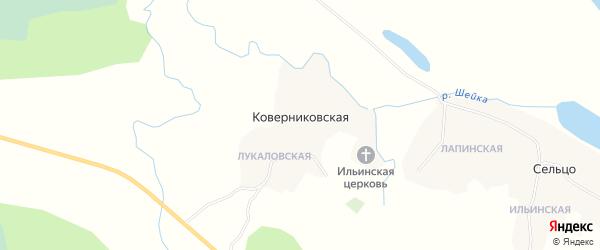 Карта Коверниковской деревни в Архангельской области с улицами и номерами домов